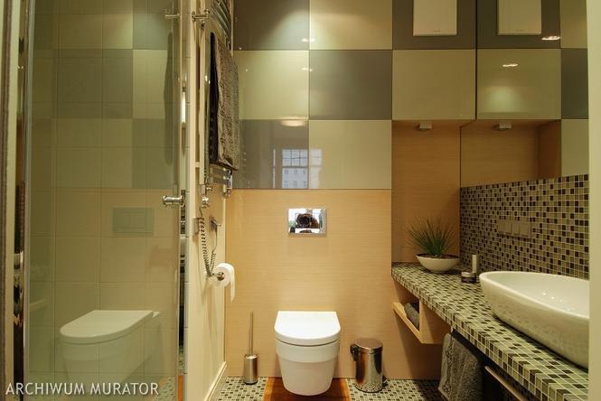 Łazienka z dużymi płytkami i mozaiką
