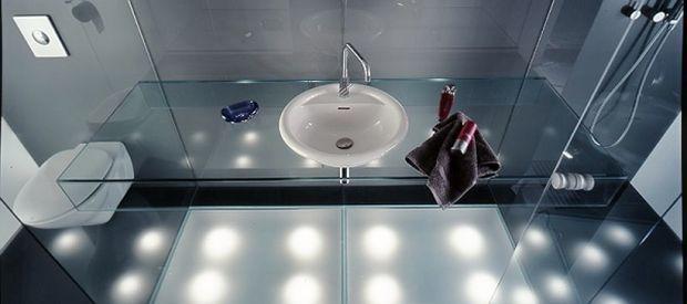 Oświetlenie łazienki - światło pod podłogą