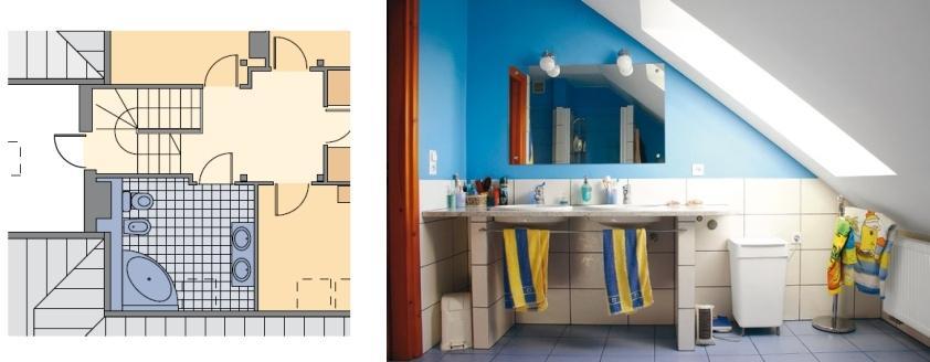 3 projekty łazienek na poddaszu pod czterospadowym dachem